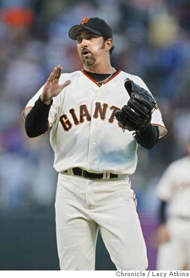 San Francisco Giants pitcher Dustin Hermanson reacts to making his first save, Aug. 8, 2004, against the Chicago Cubs. SAN FRANCISCO GIANTS AGAINST CHICAGO CUBS AUG.8 2004 in SAN FRANCISSCO.. LACY ATKINS / The Chronicle Photo: LACY ATKINS