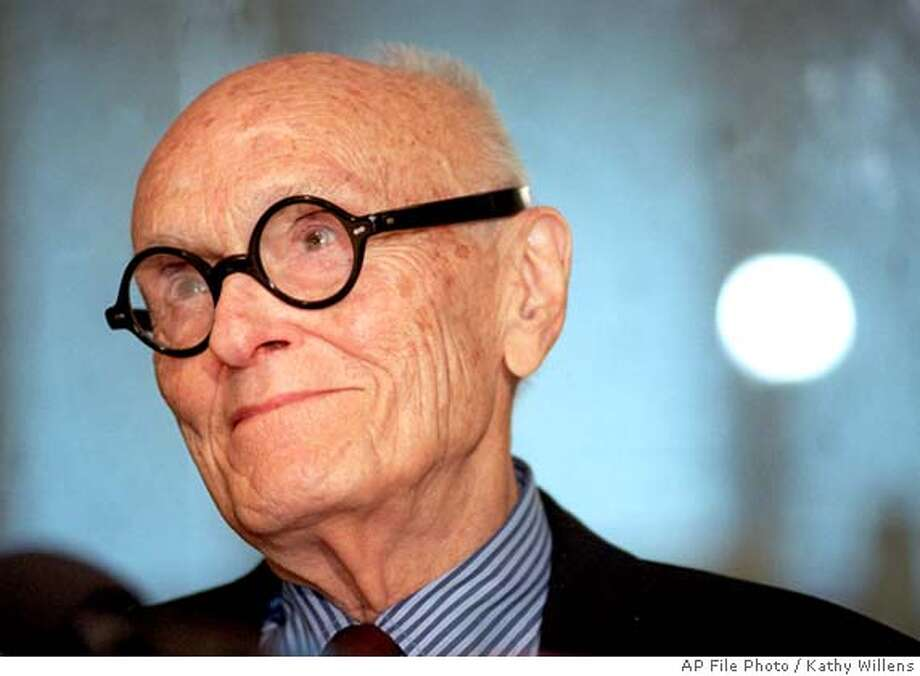 "Architect Philip Johnson gives a news conference in New York Monday, July 8, 1996, on his 90th birthday, before unveiling his design for the Cathedral of Hope in Dallas, Texas. Johnson, the innovative architect who promoted the ""glass box"" skyscraper and then smashed the mold with daringly nostalgic post-modernist designs, has died, a curator at the Museum of Modern Art, said Wednesday, Jan. 26, 2005. He was 98. (AP Photo/Kathy Willens) Photo: KATHY WILLENS"