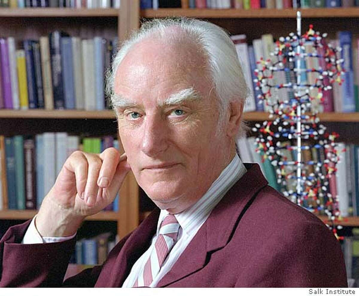 *FILE (NYT16) UNDATED -- July 29, 2004 -- OBIT-CRICK-B&W-2 -- An undated photo of Nobel Prize-winning British scientist Dr. Francis Crick, co-discoverer with Dr. James Watson of the structure of DNA, the genetic blueprint for living things, and the leading molecular biologist of his age, died on Wednesday night in a hospital in San Diego. He was 88. Both, along with and Maurice Wilkins received the Nobel Prize in medicine in 1962. (Salk Institute/The New York Times) *UK AND IRELAND OUT **ONLY FOR USE WITH STORY BY NICHOLAS WADE SLUGGED: OBIT-CRICK-B&W. ALL OTHER USE PROHIBITED. Ran on: 07-30-2004 Francis Crick figured out the double helix in background of picture, with James Watson. Ran on: 07-30-2004 Ran on: 07-30-2004 Francis Crick figured out the double helix (above, in back- ground) with James Watson. Ran on: 07-30-2004 XNYZ, *UK AND IRELAND OUT **ONLY FOR USE WITH STORY BY NICHOLAS WADE SLUGGED: OBIT-CRICK-B&W. ALL OTHER USE PROHIBITED.
