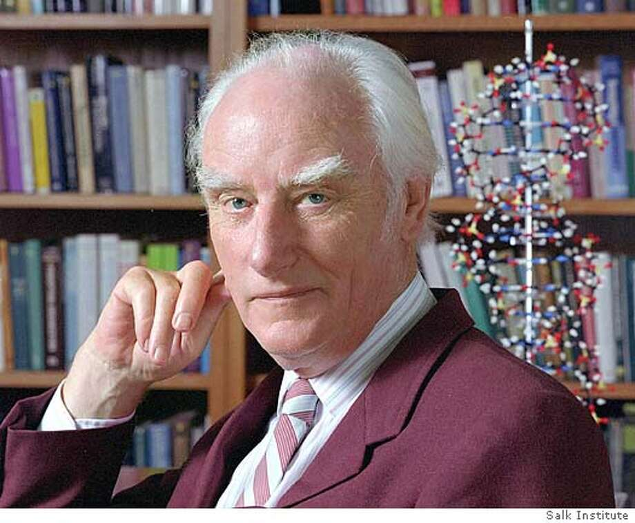 *FILE (NYT16) UNDATED -- July 29, 2004 -- OBIT-CRICK-B&W-2 -- An undated photo of Nobel Prize-winning British scientist Dr. Francis Crick, co-discoverer with Dr. James Watson of the structure of DNA, the genetic blueprint for living things, and the leading molecular biologist of his age, died on Wednesday night in a hospital in San Diego. He was 88. Both, along with and Maurice Wilkins received the Nobel Prize in medicine in 1962. (Salk Institute/The New York Times) *UK AND IRELAND OUT **ONLY FOR USE WITH STORY BY NICHOLAS WADE SLUGGED: OBIT-CRICK-B&W. ALL OTHER USE PROHIBITED. Ran on: 07-30-2004  Francis Crick figured out the double helix in background of picture, with James Watson. Ran on: 07-30-2004 Ran on: 07-30-2004  Francis Crick figured out the double helix (above, in back- ground) with James Watson. Ran on: 07-30-2004 XNYZ, *UK AND IRELAND OUT **ONLY FOR USE WITH STORY BY NICHOLAS WADE SLUGGED: OBIT-CRICK-B&W. ALL OTHER USE PROHIBITED. Photo: Salk Institute