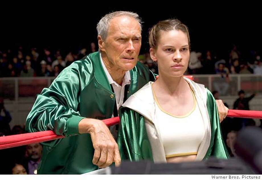 milliondollarbaby CLINT EASTWOOD as Frankie and HILARY SWANK as Maggie in Warner Bros. Pictures� drama �Million Dollar Baby.� The Malpaso production also stars Morgan Freeman. PHOTOGRAPHS TO BE USED SOLELY FOR ADVERTISING, PROMOTION, PUBLICITY OR REVIEWS OF THIS SPECIFIC MOTION PICTURE AND TO REMAIN THE PROPERTY OF THE STUDIO. NOT FOR SALE OR REDISTRIBUTION. Ran on: 12-26-2004  &quo;Million Dollar Baby&quo;: Clint Eastwood directed and co-stars with Hillary Swank. Ran on: 12-25-2004 Ran on: 12-25-2004 Ran on: 01-14-2005  Don Cheadle deserves the best actor award for drama for his sensational performance in &quo;Hotel Rwanda.&quo;