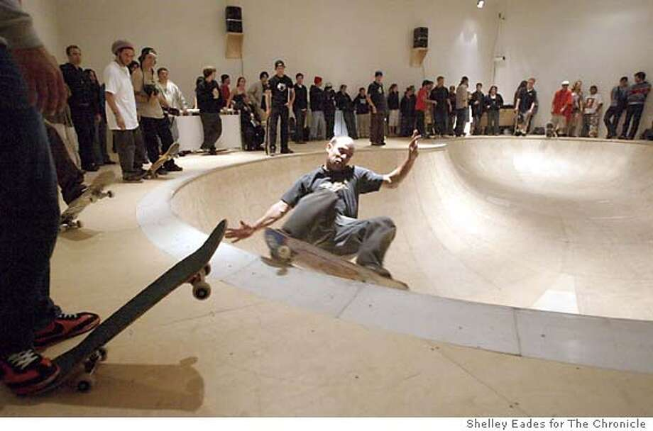 Assignment ID : {11300} The New Exhibition at the Yerba Buena Center for the Arts includes a peice of art in the form of an indoor skate bowl which allows people to look at skaters like Brian Ferdinand, 31, of Modesto from above and listen to the interesting sounds below. Shelley Eades for The Chronicle Photo: Shelley Eades