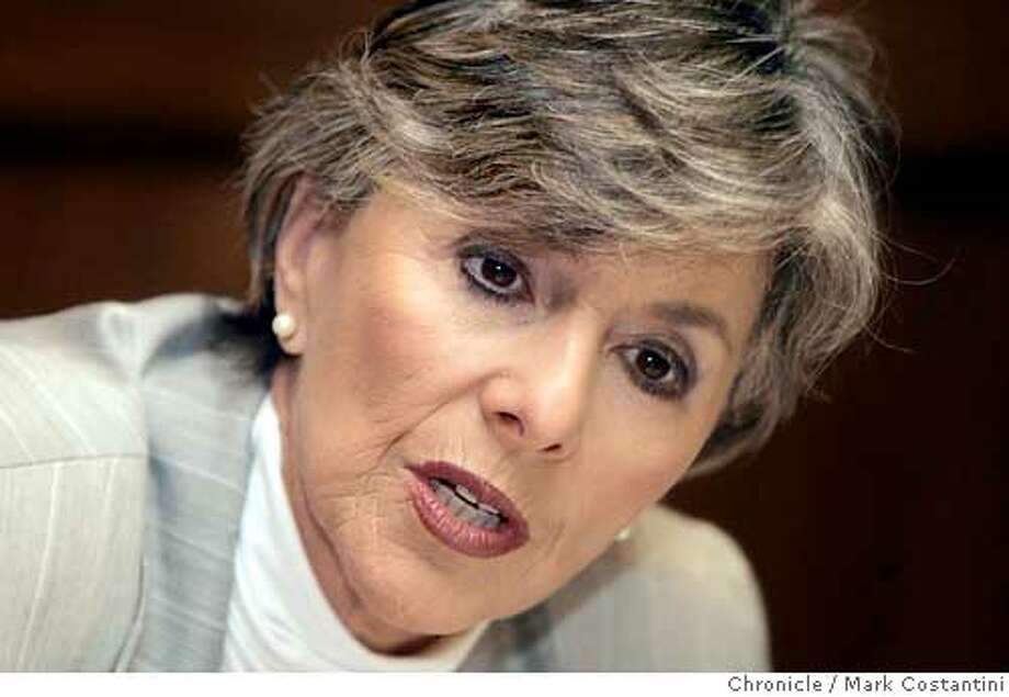 U.S. Sen. Barbara Boxer responds to a question from the Chronicle's Editorial board. Event on 9/24/04 in San Francisco. Photo: Mark Costantini/S.F. Chronicle Photo: Mark Costantini