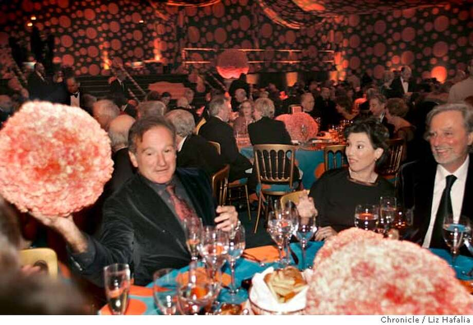 Robin Williams with Carole Shorenstein and Phil Kaufman at the dinner. The San Francisco Symphony hosts a big gala B-day blowout to celebrate Michael Tilson Thomas 60th bday & his 10th season as leader of the band. Shot in San Francisco on 1/13/05. Creditted to San Francisco Chronicle/ Photo: Liz Hafalia