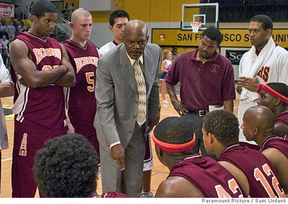 "(Center, left to right) Channing Tatum as ""Jason Lyle""(#5 shirt), Samuel L. Jackson as ""Coach Ken Carter"", (Far right center) Texas Battle as ""Maddux"", (Foreground, backs to us, left to right) Rob Brown as ""Kenyon Stone""(with headband), Robert Ri�chard as ""Damien Carter""(#12 shirt), Antwon Tanner as ""Worm"", Nana Gbewonyo as ""Junior Battle"" in ""Coach Carter."" Photo by: Sam Urdank/Paramount Picture"