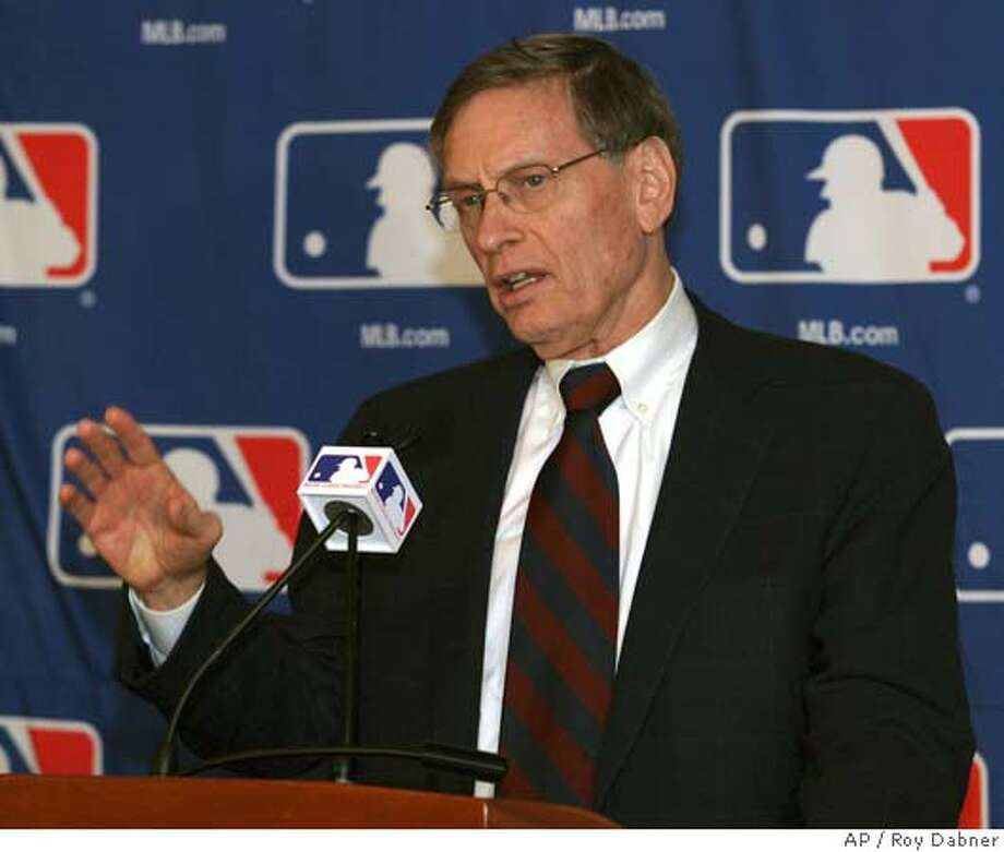 Major League Baseball Commissioner Allan H. (Bud) Selig, answers questions during a news conference, Thursday, Jan. 13, 2005, in Scottsdale, Ariz. MLB and players have reached a tentative agreement on steroid use.(AP Photo/Roy Dabner) Photo: ROY DABNER