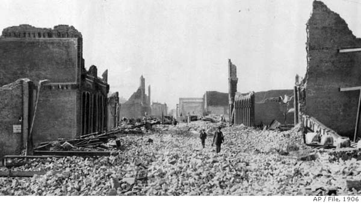 ADVANCE FOR WEEKEND EDITIONS, JULY 3-4--FILE--People walk through the rubble following an earthquake in San Francisco in this April 18, 1906 file photo. On April 17, 1906, San Francisco was cosmopolitan enough to host Enrico Caruso in