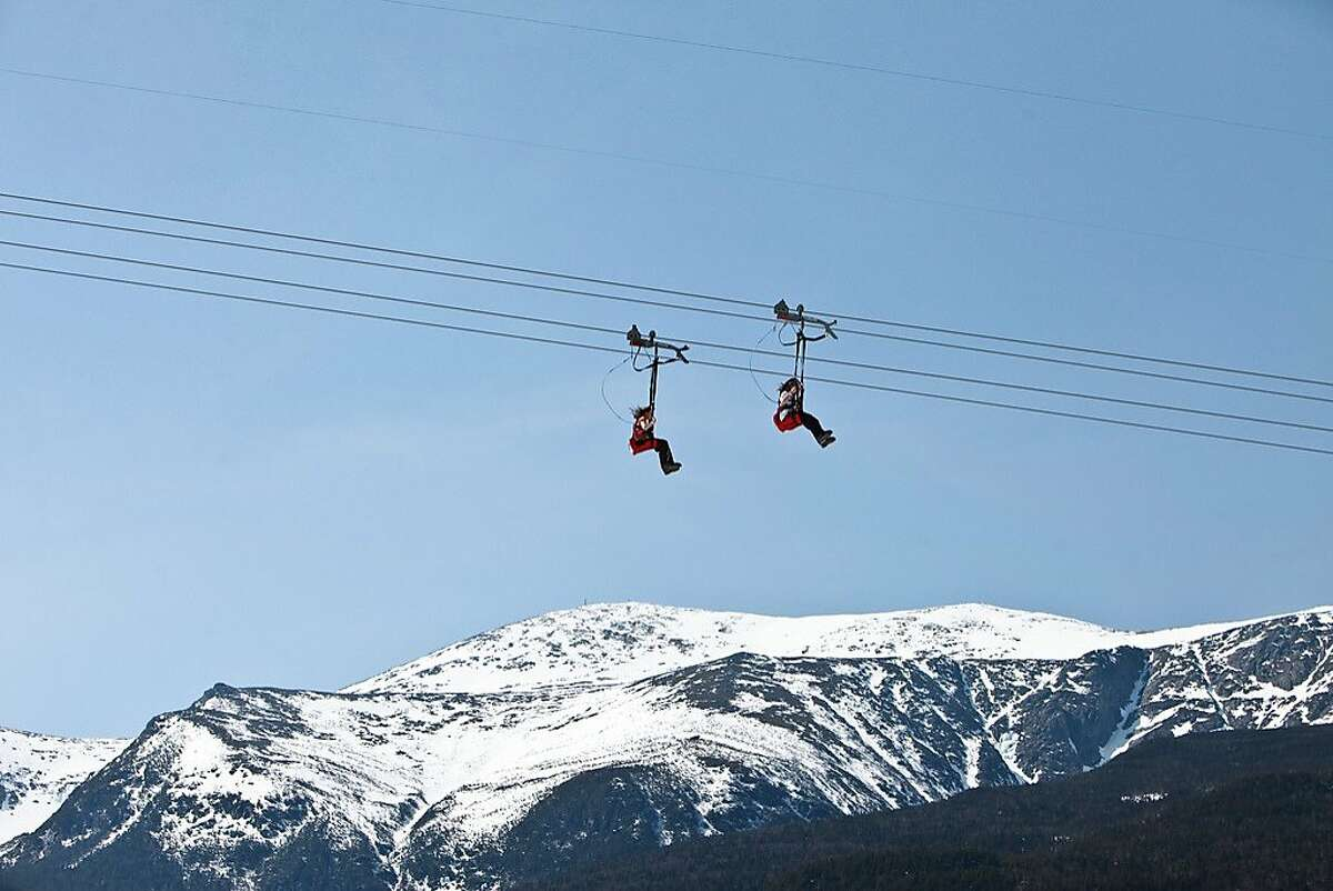 Ziplining on Wildcat Mountain, New Hampshire. www.skiwildcat.com. More than 2,000 feet of vertical, 30 percent expert, 25 percent beginner; 49 trails. Weekend adult day pass $70, kids $50.
