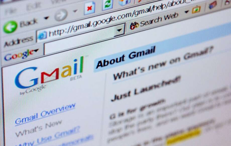 In this file photo, the Gmail logo is pictured on the top of a Gmail.com welcome page. Photo: Daniel Acker, Bloomberg News