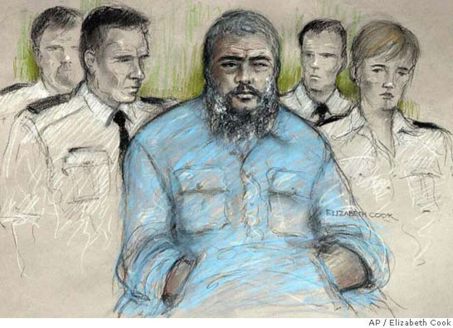 Courtroom sketch of radical Muslim cleric Abu Hamza al-Masri in the dock at Belmarsh Magistrates' Court, south east London, Friday July 23, 2004, where he was facing extradition proceedings that could see him sent to the United States. Al-Masri, accused of seeking a U.S.-based terrorist training camp, heard details of the charges against him at an extradition hearing Friday. A lawyer acting for the U.S. government said Abu Hamza al-Masri was involved in the attempted establishment of a terrorist training camp in Oregon, a hostage taking incident in Yemen, and the funding of training for potential terrorists. (AP Photo/PA, Elizabeth Cook) **UNITED KINGDOM OUT TV OUT MAGS OUT ** Photo: ELIZABETH COOK