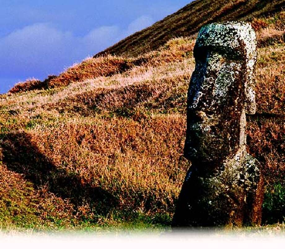 No trees in sight: Early inhabitants of Easter Island denuded it of trees; the statues they left behind are emblems of that ecological disaster.