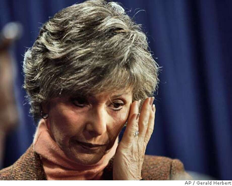 Sen. Barbara Boxer, D-Calif., wipes away a tear as she announces with Rep. Stephanie Tubbs Jones, D-Ohio, that they will object to the certification of Ohio's electoral votes during a joint session of Congress today Thursday, Jan. 6, 2005. It would be only the second time since 1877 that the House and Senate were forced into separate meetings to consider electoral votes. (AP Photo/Gerald Herbert) Photo: GERALD HERBERT