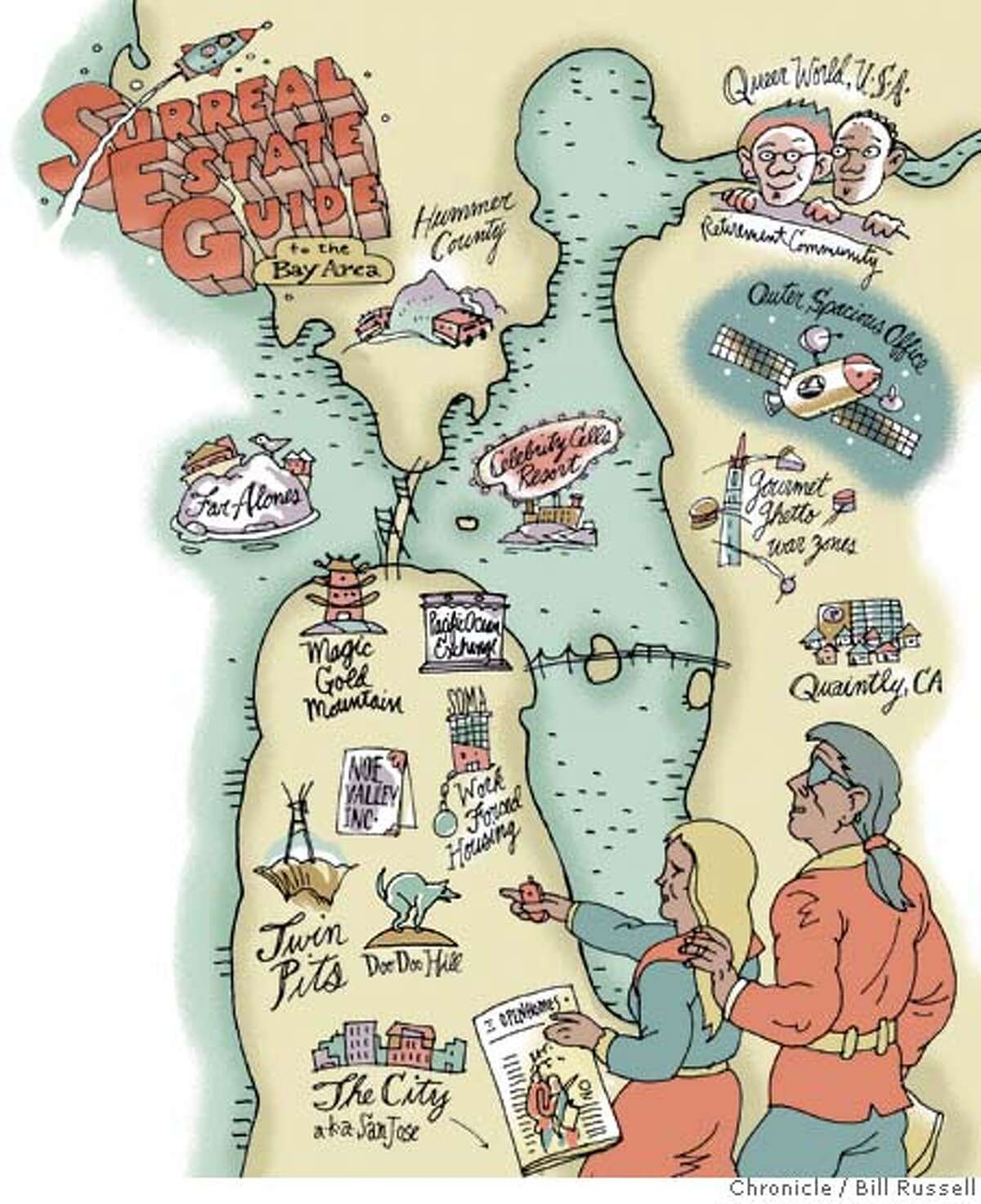 Surreal Estate Guide to the Bay Area. Chronicle Illustration by Bill Russell