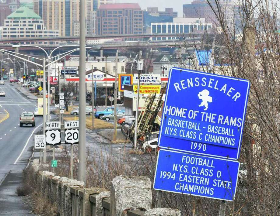Sign at the Rensselaer City line westbound on Rts. 9 and 20 Thursday Jan. 26, 2012.  (John Carl D'Annibale / Times Union) Photo: John Carl D'Annibale