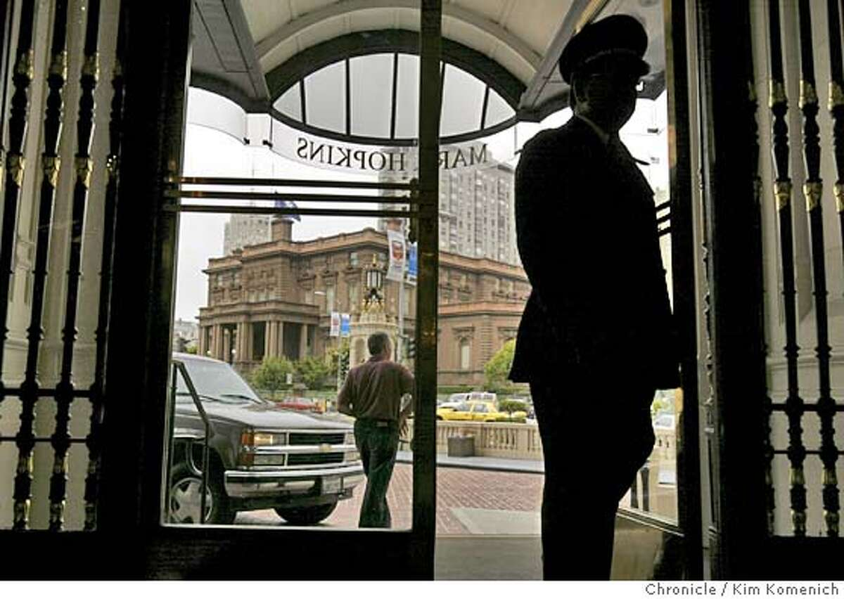 We look at four of San Francisco's mens' clubs. The Pacific Union Club sits across the intersection of Mason and California from the Mark Hopkins hotel. This photo is made through the front door of the hotel. Photo by Kim Komenich in San Francisco