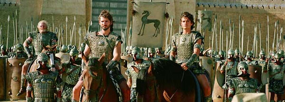 """for preview04; ERIC BANA (l) and ORLANDO BLOOM in Warner Bros. Pictures� """"Troy,"""" also starring Brad Pitt. PHOTOGRAPHS TO BE USED SOLELY FOR ADVERTISING, PROMOTION, PUBLICITY OR REVIEWS OF THIS SPECIFIC MOTION PICTURE AND TO REMAIN THE PROPERTY OF THE STUDIO. NOT FOR SALE OR REDISTRIBUTION"""