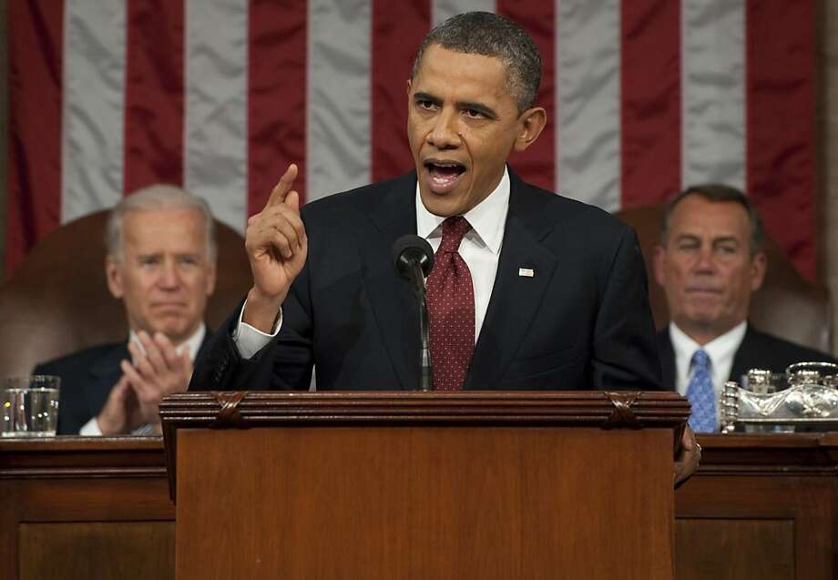WASHINGTON, DC - JANUARY 24:  U.S. President Barack Obama, flanked by Vice President Joe Biden (L) and House Speaker John Boehner (R-OH), delivers his State of the Union address before a joint session of Congress on Capitol Hill January 24, 2012 in Washington, DC. The president made a populist pitch to voters for economic fairness, saying the federal government should more do to balance the benefits of a capitalist society.  (Photo by Saul Loeb-Pool/Getty Images) Photo: Pool, Getty Images