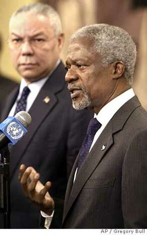 United Nations Secretary General Kofi Annan, right, speaks alongside U.S. Secretary of State Colin Powell, left, at UN headquarters, Friday, Dec. 31, 2004. (AP Photo/Gregory Bull) Ran on: 01-01-2005  U.N. Secretary-General Kofi Annan (right) and Secretary of State Colin Powell speak at U.N. headquarters on the devastation in southern Asia. Ran on: 01-01-2005  U.N. Secretary-General Kofi Annan (right) and Secretary of State Colin Powell speak at U.N. headquarters on the devastation in southern Asia. Ran on: 01-01-2005  U.N. Secretary-General Kofi Annan (right) and Secretary of State Colin Powell speak at U.N. headquarters on the devastation in southern Asia. Photo: GREGORY BULL