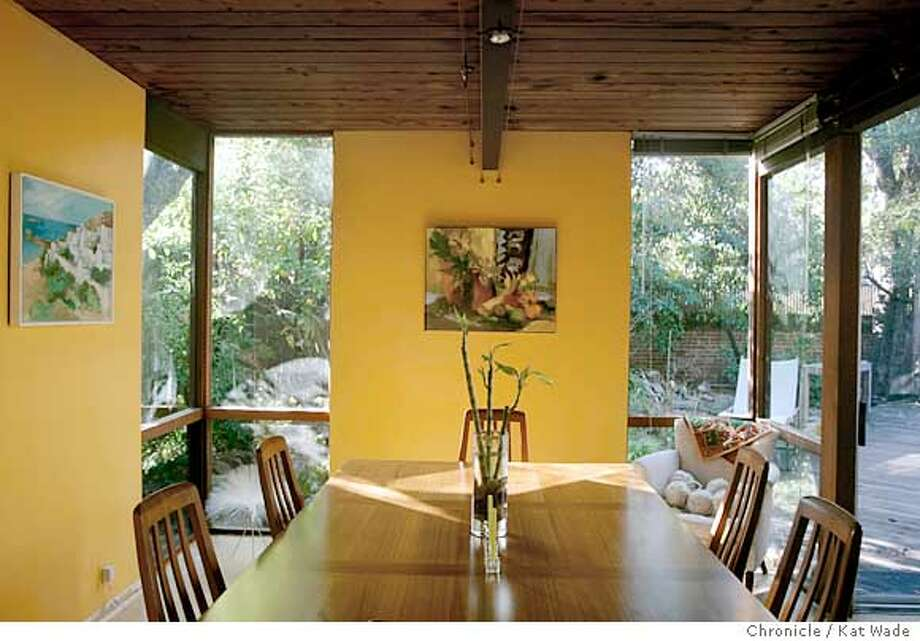 On 12/19/04 in Palo Alto Marie-Jo Fremont and her husband Brian Tucker own possibly the last Eichler home designed by architect Claude Oakland with walls of glass and soaring ceilings. Chronicle Photo by Kat Wade Photo: Kat Wade