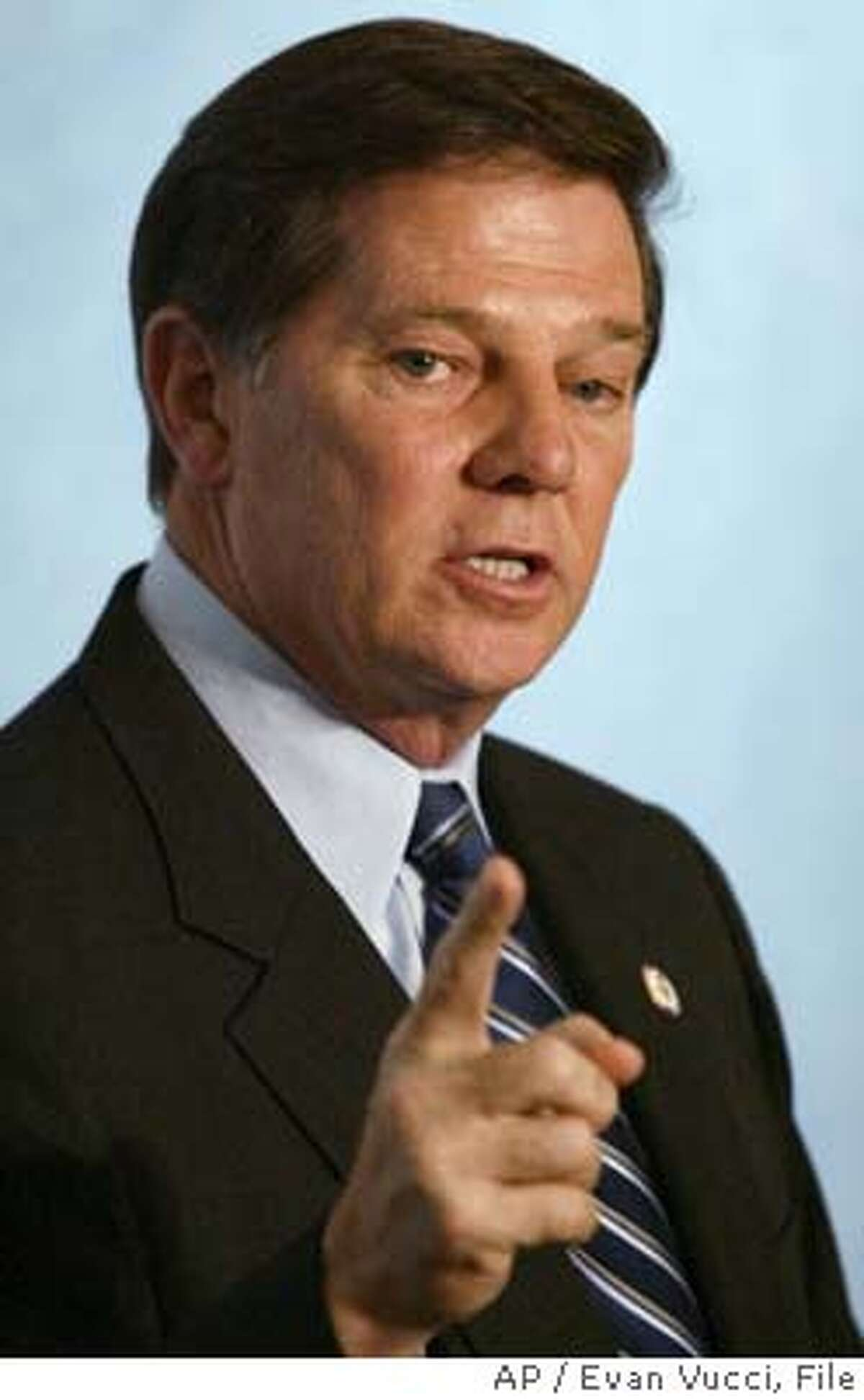 **FILE** House Majority Leader Rep. Tom DeLay, R-Texas, speaks to the Heritage Foundation in this Sept. 24, 2003 file photo in Washington. A Texas Democrat who saw his political career halted by the maneuverings of House Majority Leader Tom DeLay and other Republicans filed multiple complaints with the House ethics committee Tuesday, June 15, 2004. (AP Photo/Evan Vucci, File) Ran on: 06-16-2004 Ran on: 06-16-2004 Rep. Chris Bell SEPT 24, 2004 FILE PHOTO