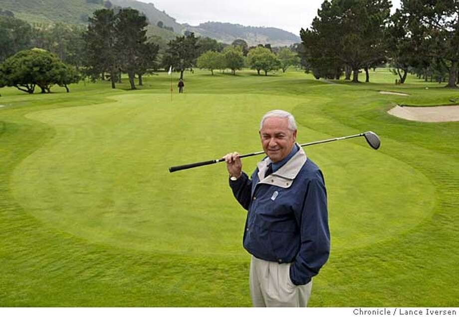 "GOLFCOURSE_183_LI.JPG event on 6/9/04 in CARMEL Nick Lombardo stands on the 18thy green of the West Course at Rancho Canada Golf Club. In Carmel people build golf courses. They don't remove them. Certainly not to replace them with low-income housing. But that's what Nick Lombardo, the 76-year-old owner and creator of Rancho Canada Golf Club is doing. Two years ago, Lombardo decided instead of selling out to the developers of a resort hotel to give something back to the community he ""invested in"" for 40 years and get rid of the bulk of one golf course and replace it with a subdivision of 280 units of which 50 percent will be anywhere from one-tenth to one half the $700,000 market rate for new homes on the Monterey Peninsula, and he doesn't make a dime. By Lance Iversen/The San Francisco Chronicle Photo: Lance Iversen"