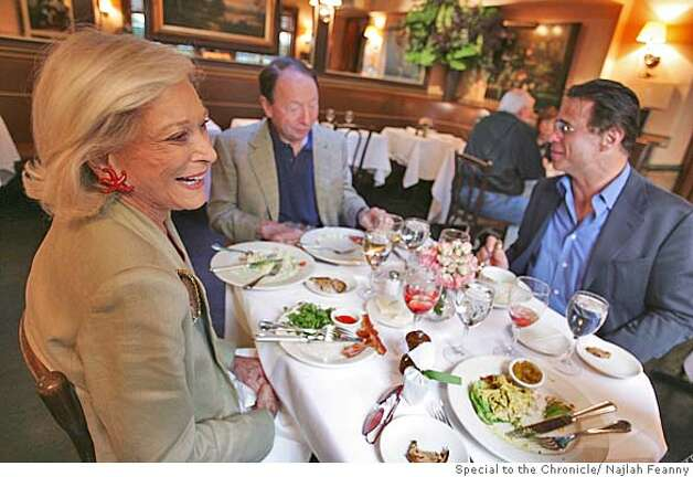 "Legendary New York socialite and author of RSVP, an album-sized cookbook, Nan Kempner lunching at Swifty's Restaurant. Kempner with Oscar de la Renta Executive at Large Boaz Mazor and her husband financier Tommy Kempner. Kempner is known as ""New York's leading socialite"". PHOTO BY NAJLAH FEANNY/SPECIAL FOR THE CHRONICLE ONE-TIME USE ONLY Photo: Najlah Feanny"