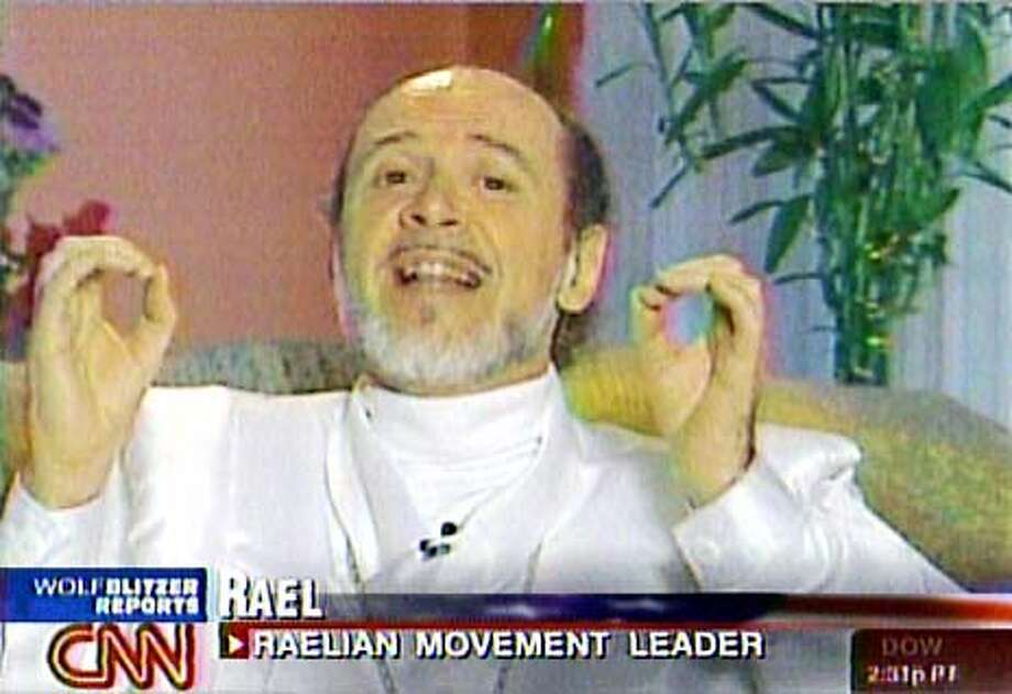 Claude Vorilhon, who calls himself Rael and is a former French journalist and leader of a sect called the Raelians, is seen in this image from television, during an interview broadcast on CNN, Friday, Dec. 27, 2002, location unknown. Clonaid, a company founded by Vorilhon, announced Friday Dec. 27, 2002 that it has produced the worlds first cloned baby. Vorilhon claims a space alien visiting him in 1973 revealed that extraterrestrials had created all life on Earth through genetic engineering. (AP Photo/CNN)