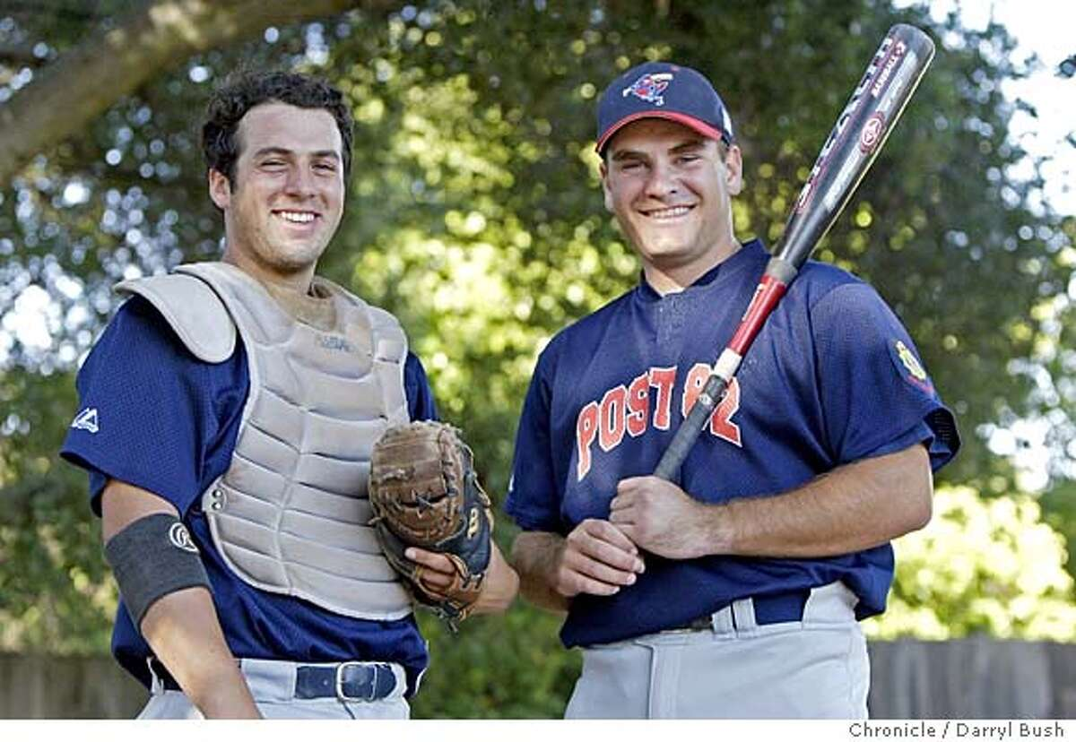 San Mateo American Legion teamates, and both catchers, Matt Fahey, left, and Nick Favro (playing DH this game), right, at Menlo-Atherton High school baseball field. Event on 6/30/04 in Atherton. Darryl Bush / The Chronicle