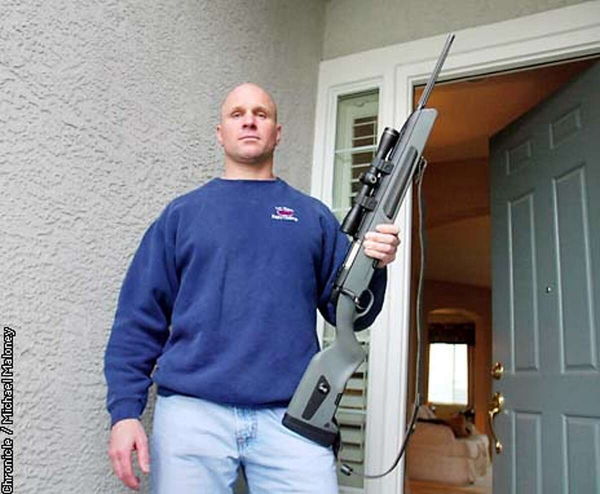 Gary Gorski does not want to lose his right to protect himself and his home. He stands at the doorway of his home with a Steyr Scout, a rare, expensive bolt action rifle made in Austria. Gorski uses the legal weapon for hunting and target shooting. Fair Oaks (Sacramento county) lawyer Gary Gorski is challenging the state's assault weapons ban. He's asking for a full court hearing and may end up appearing before the US Supreme Court. CHRONICLE PHOTO BY MICHAEL