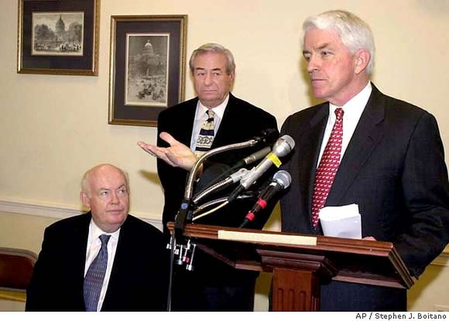 President and CEO of the U.S. Chamber of Commerce Thomas J. Donohue, right, expresses his opposition to congressional efforts to limit foreign investment in U.S. telecommunications firms during a news conference on Captol Hill in Washington Thursday, Oct. 5, 2000. Also from left, AFL-CIO President John Sweeney and Communications Workers of America President Morton Bahr. (AP Photo/Stephen J. Boitano) ALSO RAN: 02/15/2001 CAT Photo: STEPHEN J. BOITANO