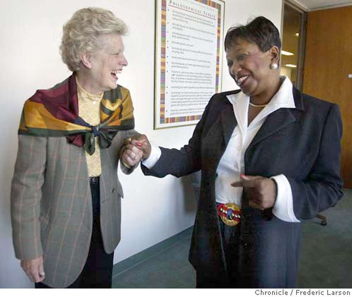 ; Superintendent Arlene Ackerman's (right) phone call to then-City Attorney Louise Renne (left) back in August, 2000 telling her something in the district's facilities department seemed fishy to the announcement Wednesday that she helped the district win $43.1 million from a big energy company that defrauded it. 7/2/04 San Francisco Chronicle Frederic Larson
