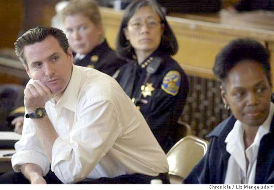 district_014_lm.JPG Event on 4/24/04 in San Francisco.  Mayor Newsom, left, along with Supervisor Maxwell, far right, listen during the meeting. Fire chief Joanne Hayes-White and Police Chief Heather Fong are in background (left to right). San Francisco Mayor Gavin Newsom and Supervisor Sophie Maxwell host a twon hall meeting in District 10, which includes the Bayview, Hunters Point and Visitacion Valley, at the Visitation Valley Elementary School. Police Chief Heather Fong and Fire Chief Joanne Hayes-White, plus other city managers attended Liz Mangelsdorf/ The Chronicle MANDATORY CREDIT FOR PHOTOG AND SF CHRONICLE/ -MAGS OUT Photo: Mangelsdorf, Liz