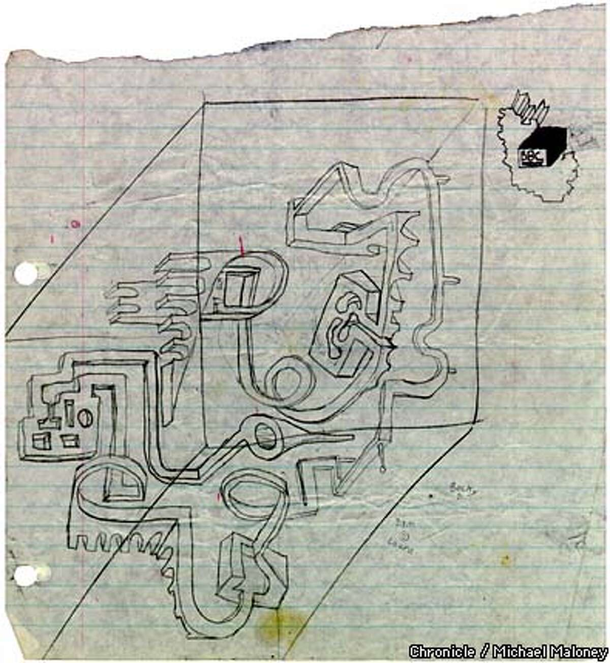 The original sketch for McGinnis' idea that became the Superplexus. Chronicle photo by Michael Maloney