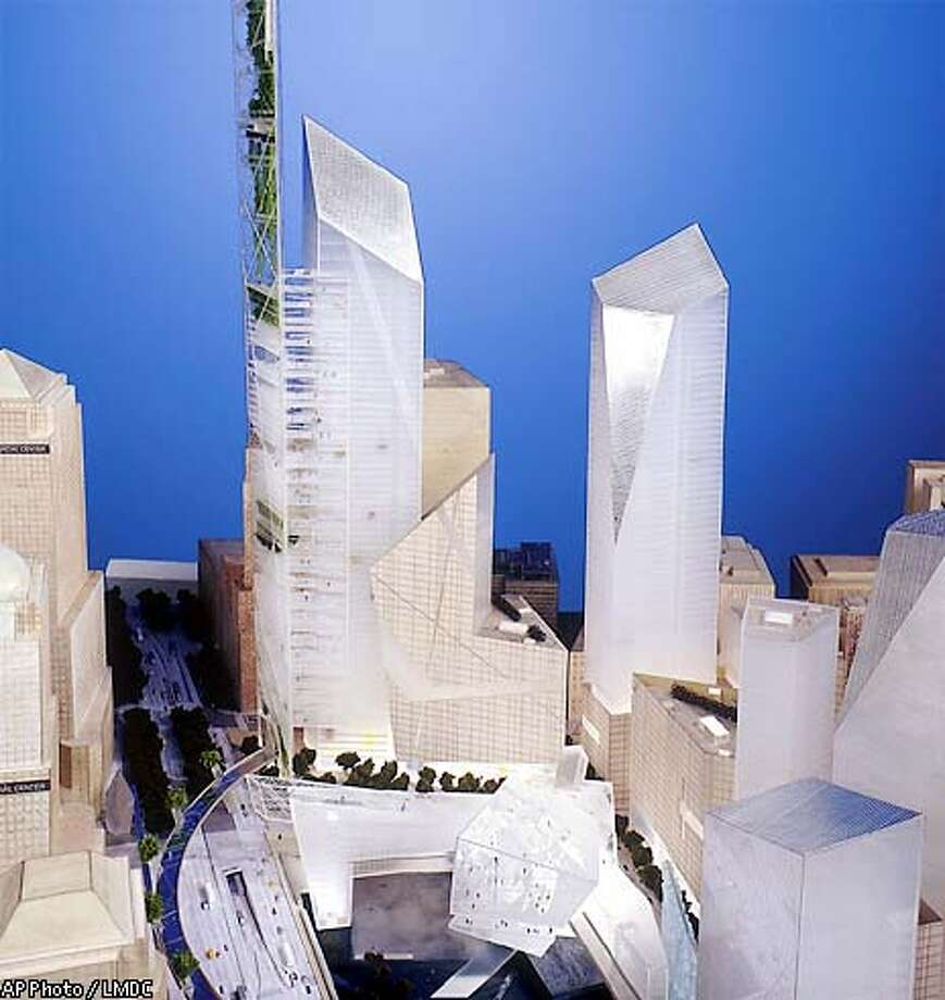 ** ONE OF SEVEN IMAGES CROPPED FOR UNIFORM SIZE ** This one of the proposed designs for the rebuilding of New York's World Trade Center, by Studio Daniel Libeskind, presented in New York Wednesday Dec. 18, 2002. Seven teams of architects from around the world presented their designs, beginning an intensive six weeks of review before a final plan is chosen to develop the 16-acre site and the surrounding neighborhood.(AP Photo/LMDC)