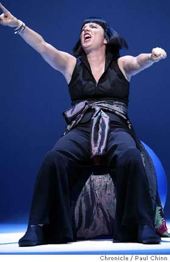 "Eve Ensler performs her new monologue ""The Good Body"" at the Geary Theater in San Francisco on 6/23/04. PAUL CHINN/The Chronicle Photo: PAUL CHINN"