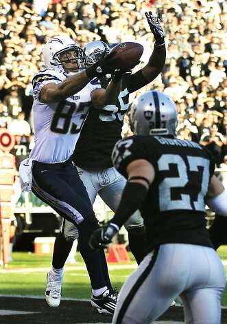 San Diego Chargers wide receiver Vincent Jackson (83) catches a 13-yard touchdown reception between Oakland Raiders linebacker Rolando McClain (55) and defensive back Matt Giordano (27) during the third quarter of an NFL football game in Oakland, Calif., Sunday, Jan. 1, 2012. (AP Photo/Marcio Jose Sanchez) Photo: Marcio Jose Sanchez, Associated Press