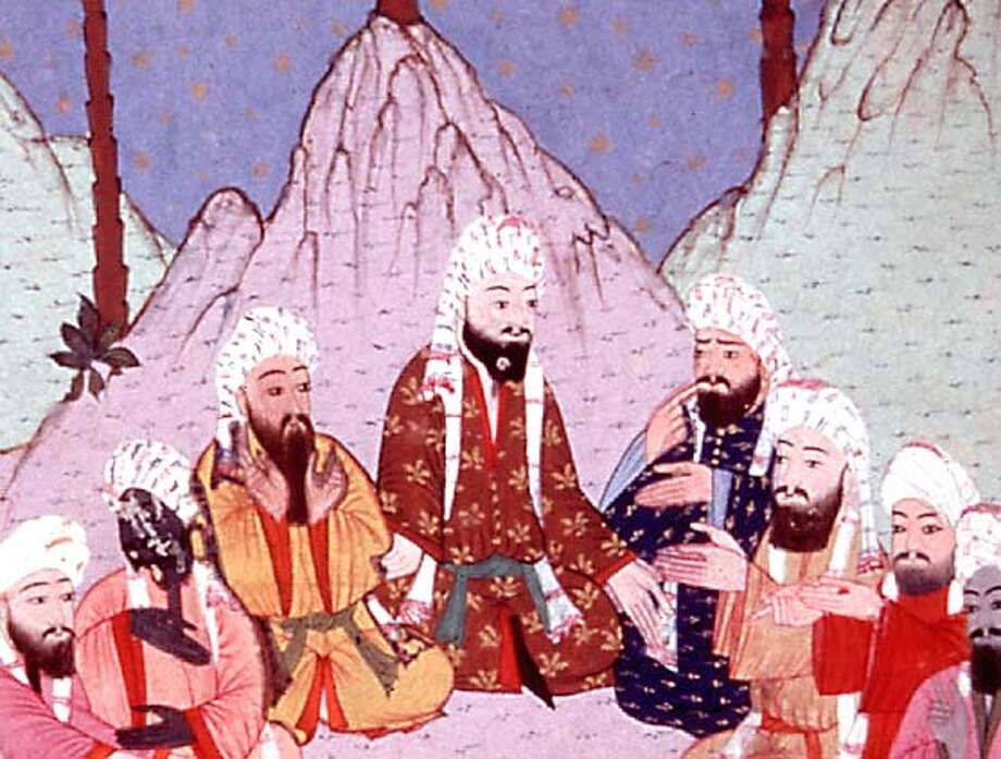 MUHAMMAD17-C-13DEC02-DD-HO  Muhammad: legacy of a Prophet. pbs series.  this is a 16th century painting from a Turkish manuscript. these are members of hte powerfl Quraysh tripe in Mecca, debating the growth of Islam in Medina. from the new york public library.  handout from pbs.