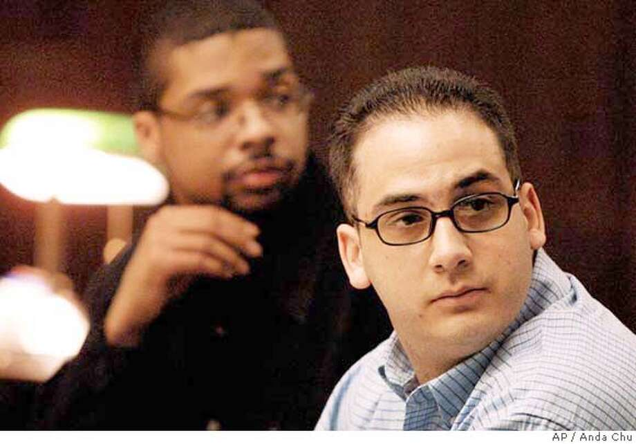 "Defendants Michael Magidson, right, and Jose Merel appear in court Monday, March 15, 2004, in Hayward, Calif. Both men are on trial for the murder of Eddie ""Gwen"" Araujo, a transgender teen who lived as a woman. (AP Photo/Anda Chu, POOL) Defendants Michael Magidson (right) and Jose Merel appear in court for trial in the slaying of a transgender teenager. Ran on: 06-23-2004 Ran on: 06-23-2004 Ran on: 06-23-2004 Ran on: 06-23-2004 POOL PHOTO Photo: ANDA CHU"