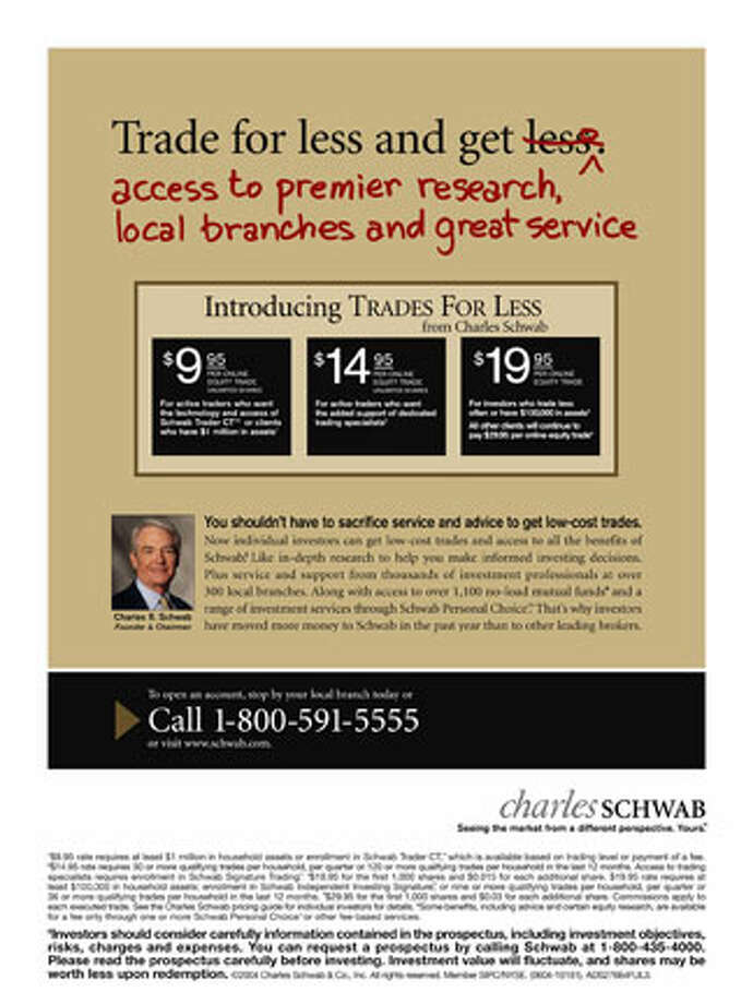 An ad for Charles Schwab touts lower commissions for trades. Photo courtesy of Charles Schwab