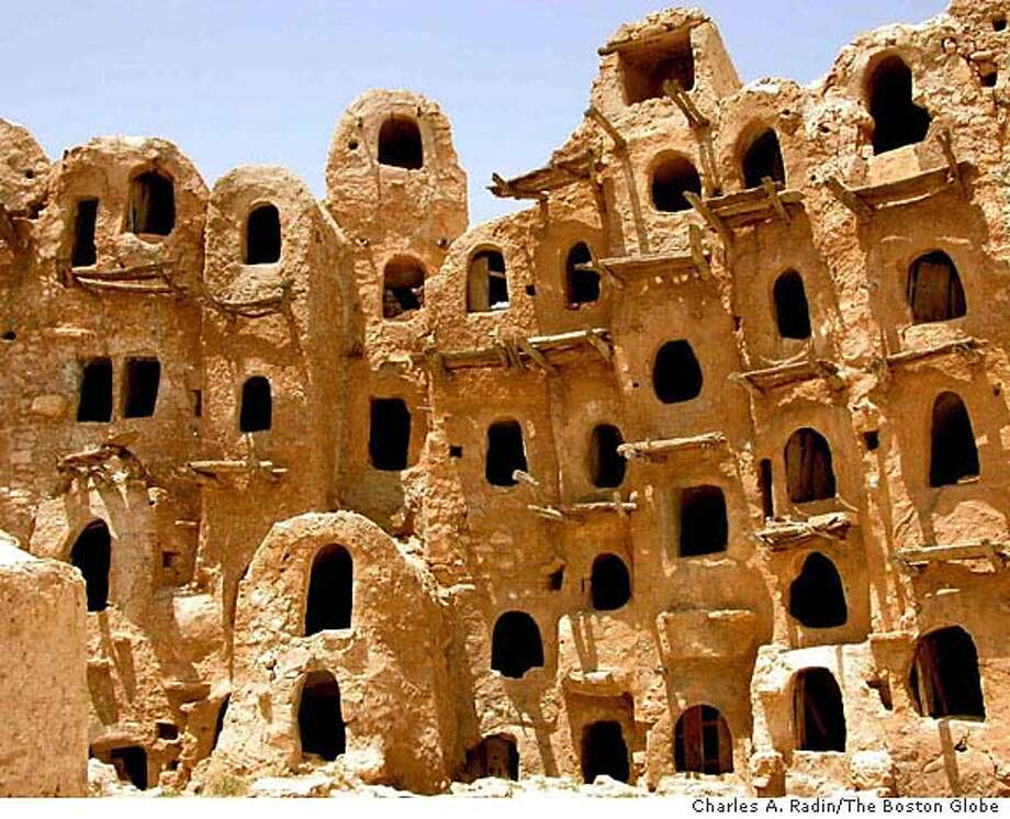 TRAVEL (NYT37) GHADAMES, Libya -- June 15, 2004 -- TRAVEL-LIBYA-BOS-2 -- A communal oil and grain storage in Ghadames, Libya in May. Ghadames, settled many thousands of years ago where Libya, Tunisia, and Algeria now converge, is among the treasures of Libya that are becoming accessible to visitors from the United States as the long estrangement between the U.S. and Libyan governments nears an end. Visas are hard to get, especially for independent travel, but no longer impossible. (Charles A. Radin/The Boston Globe) XNYZ Photo: Charles A. Radin