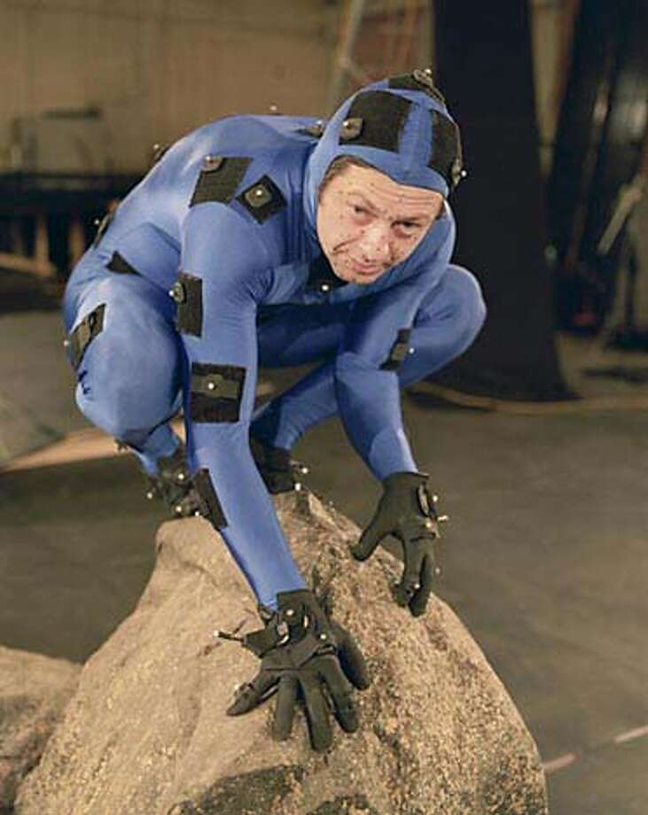 """Andy Serkis, during the second phase of filming """"Lord of the Rings: The Two Towers,'' wore a special suit that allowed computers to follow his movements."""