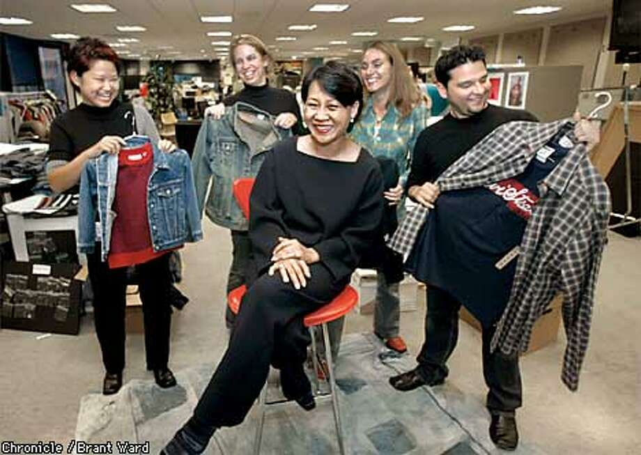 Mary Kwan, the whiz-bang VP at Levi Strauss inside the design area of their San Francisco headquarters. She is surrounded by her designers l-r Lisa Tsai, Jeanine Lovett, Dena Marie Maloy and Rod Rivas. By Brant Ward/Chronicle Photo: BRANT WARD
