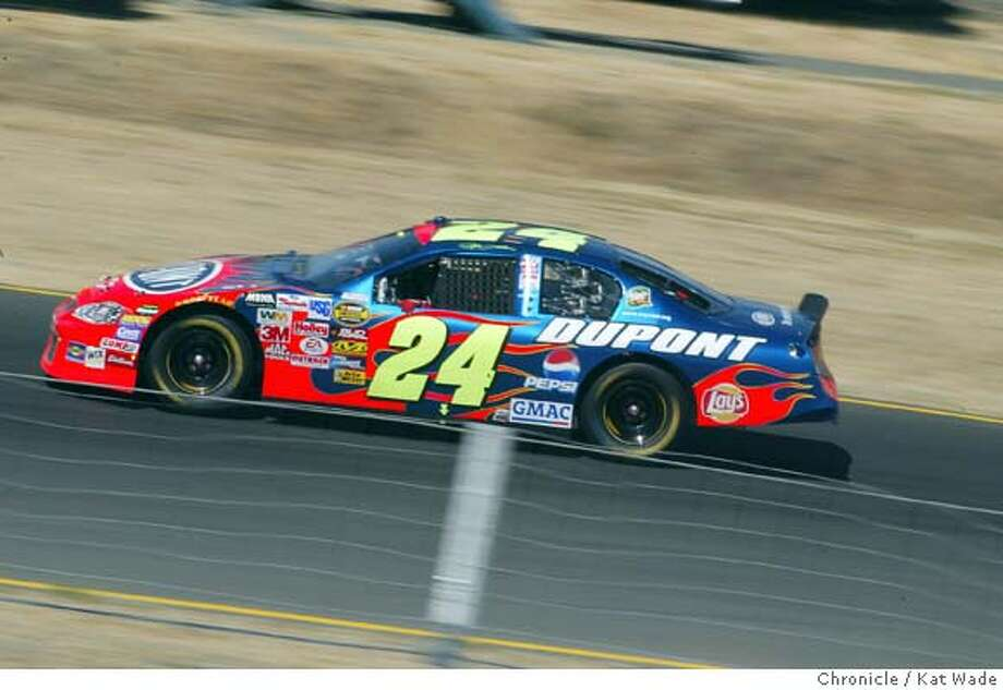 Jeff Gordon is alone in the lead in his familiar No. 24 team DuPont Chevrolet on the 77th lap. He set an Infineon Raceway NASCAR record by leading for 92 of the 110 laps. Chronicle photo by Kat Wade