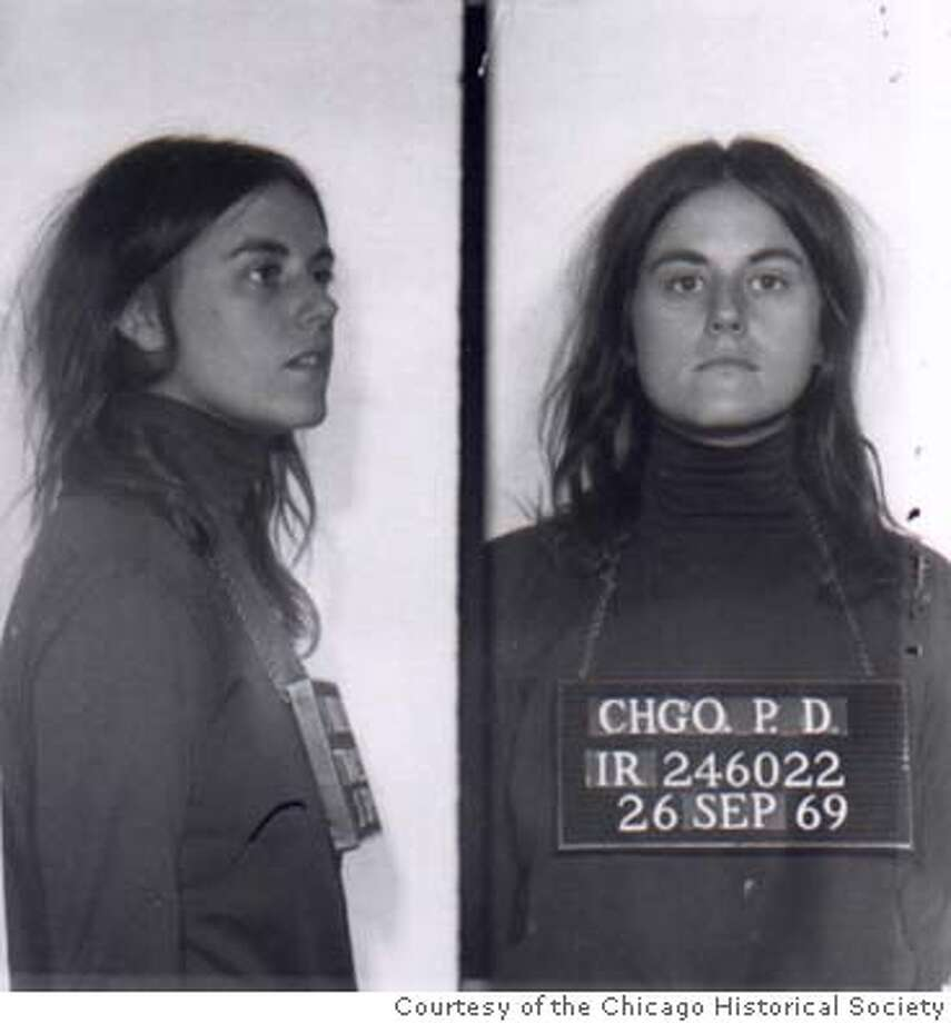 Bernardine Dohrn mug shot, Chicago, September 1969. Courtesy of the Chicago Historical Society / ITVS. THE WEATHER UNDERGROUND by Sam Green and Bill Siegel Bill Ayers, left, and Bernardine Dohrn were members of the often-violent Weather Underground. Ran on: 06-27-2004  Former Weather Underground member Bernardine Dohrn's mug shots taken by the Chicago police in September 1969.