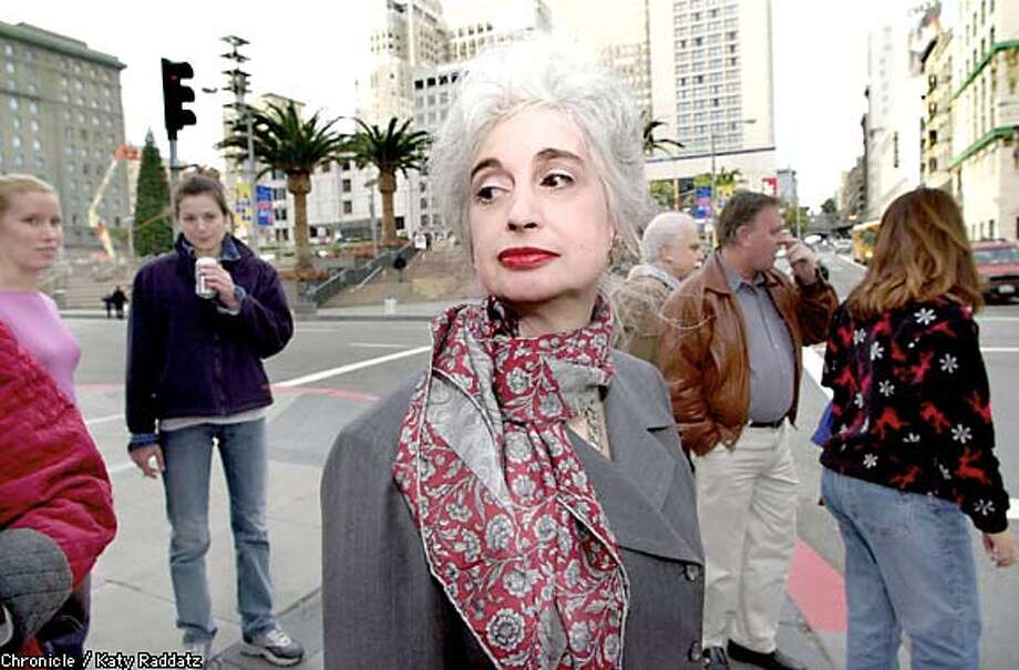 Minding manners: Judith Martin found little to criticize about the etiquette of people in Union Square during her visit to San Francisco. Chronicle photo by Katy Raddatz
