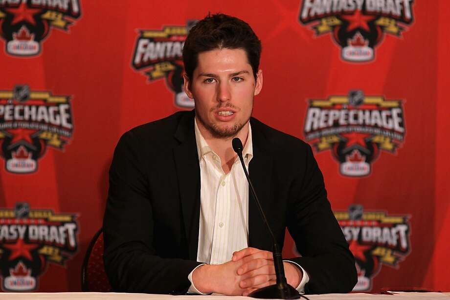 OTTAWA, ON - JANUARY 26:  Team Alfredsson forward Logan Couture of the San Jose Sharks ansewers questions form the media after he was the last overall pick in the 2012 NHL All-Star Game Fantasy Draft at Hilton Lac Leamy on January 26, 2012 in Ottawa, Canada.  (Photo by Bruce Bennett/Getty Images) Photo: Bruce Bennett, Getty Images