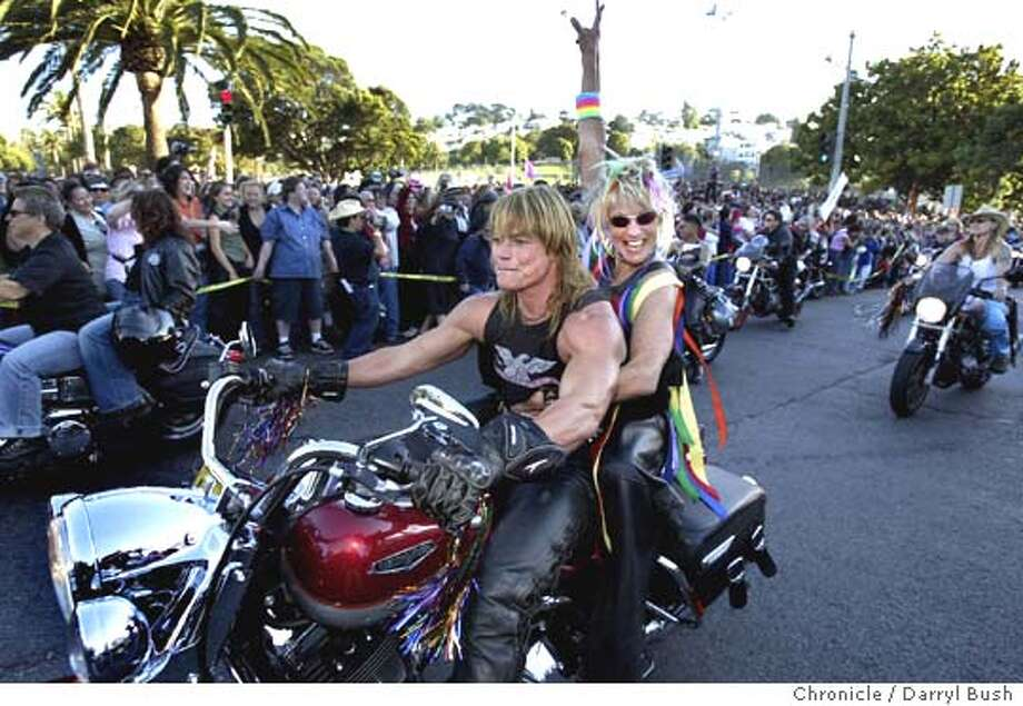 "The motorcycle group often called, ""Dykes on bikes,"" lead off the Dyke March as many thousands followed on foot from Dolores Park on 18th Street at the Dyke March Saturday evening.  Event on 6/26/04 in San Francisco.  Darryl Bush / The Chronicle Photo: Darryl Bush"