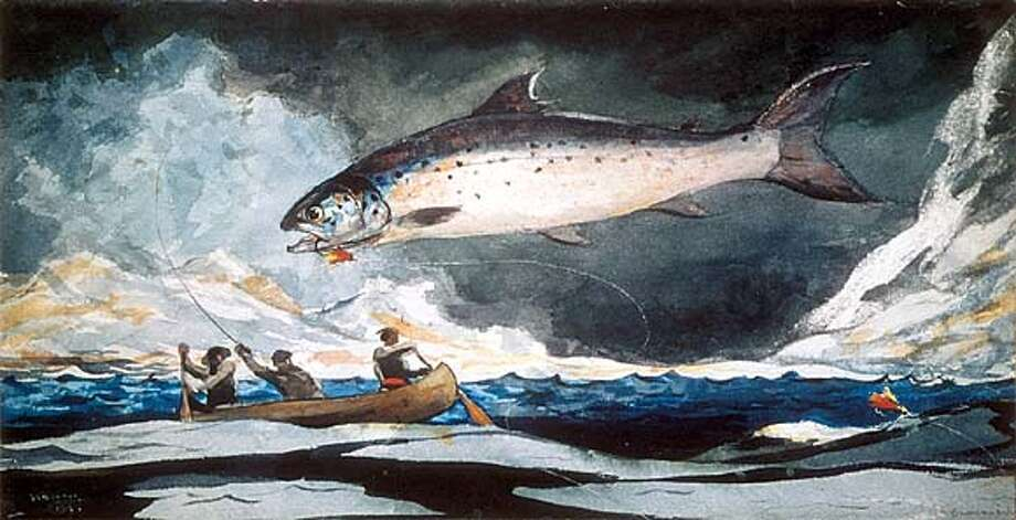 "The watercolor ""A Good Pool, Saguenay River'' (1895), part of ""Winslow Homer: Artist and Angler,'' shows a fish on the hook."