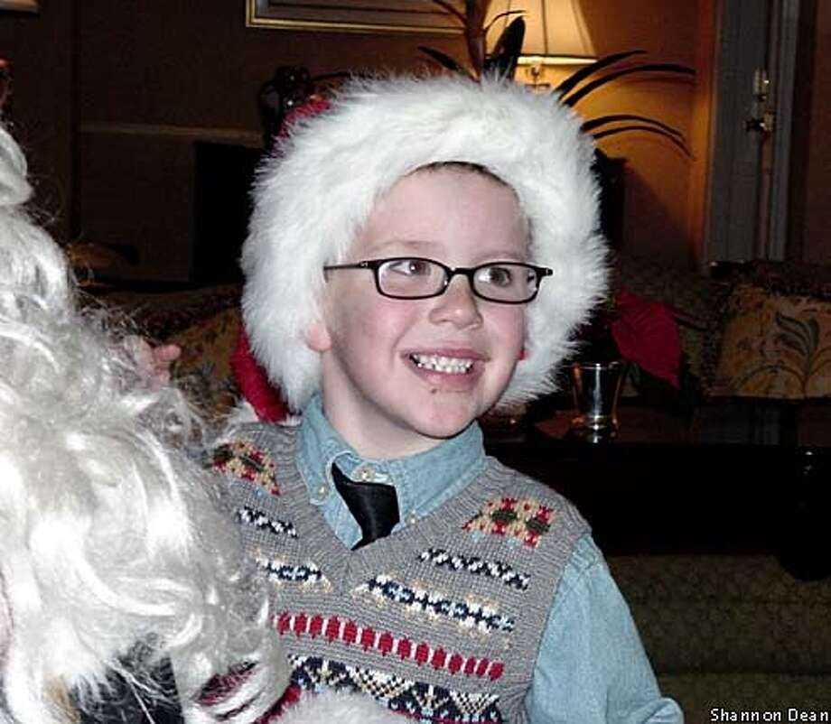Mathew Coe is all smiles at the Ritz Carlton Hotel in San Francisco, where he lit the wreath. The next day, the 5-year-old was off to New York for a trip organized by the Make-A-Wish foundation. Photo courtesy of Shannon Dean