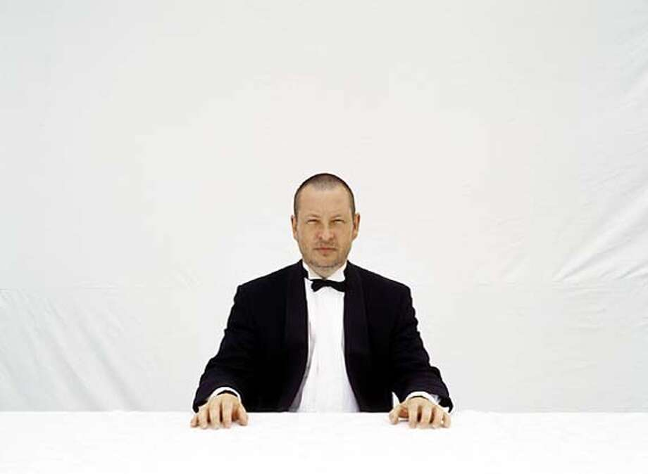 "Danish director Lars von Trier, co-director of ""The Five Obstructions."" (He's imitating a scene from Jorgen Leth's 1967 film ""The Perfect Human"")."